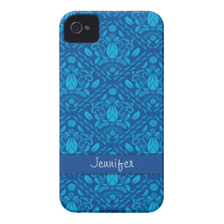 Blue damask print personalized iPhone 4/4s Case-Mate iPhone 4 Case