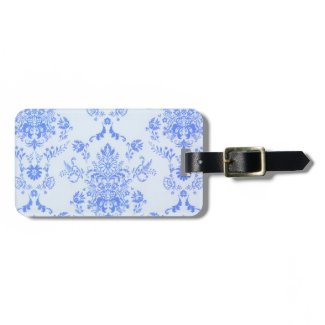 Blue Damask Print Tags For Bags