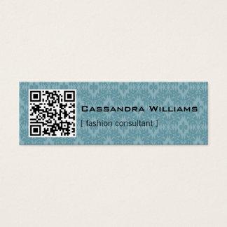 Blue Damask QR CODE Mini Business Cards