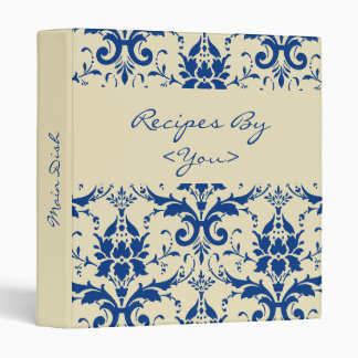 Blue Damask Recipe Book Binder