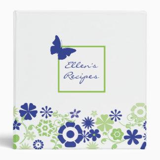 Blue Damask Recipe Book 3 Ring Binders