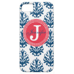 Blue Damask & Red Monogram iPhone Case iPhone 5 Covers