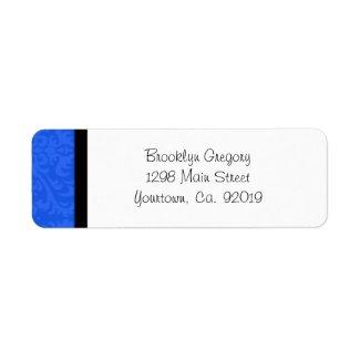 Blue Damask Return Address Label label