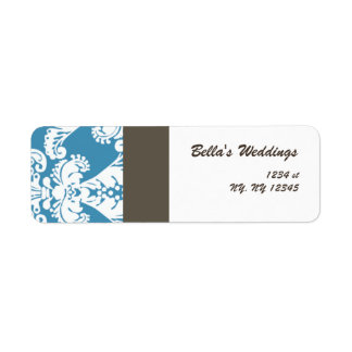 blue damask Return address label