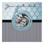Blue Damask Ribbon frame wedding invitation