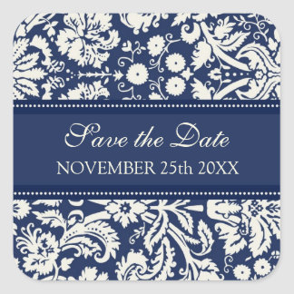 Blue Damask Save the Date Envelope Seal