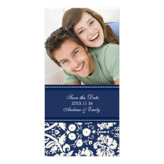 Blue Damask Save the Date Wedding Photo Cards