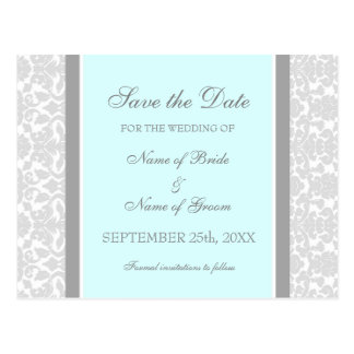 Blue Damask Save the Date Wedding Postcards