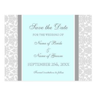 Blue Damask Save the Date Wedding Postcards