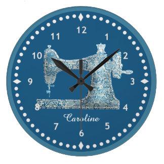 Blue Damask Sewing Machine Clock