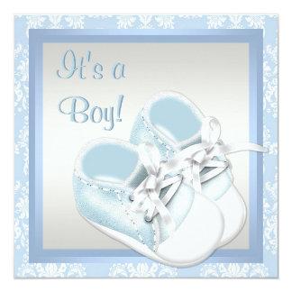 Blue Damask Shoes Blue Damask Baby Boy Shower Card