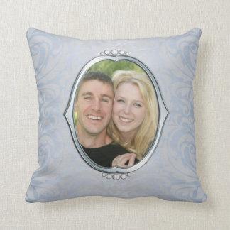 Blue Damask Silver Frame Photo Throw Pillow