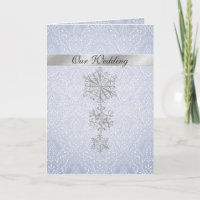 Blue Damask & Snowflakes Winter Wedding Invitation