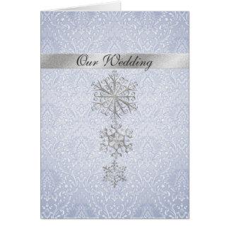 Blue Damask & Snowflakes Winter Wedding Invitation Greeting Card