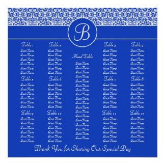 Blue Damask Square Wedding Reception Seating Chart Print