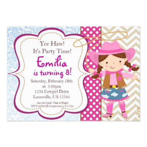 Personalized Cowgirl birthday Invitations – Cowgirl Party Invites