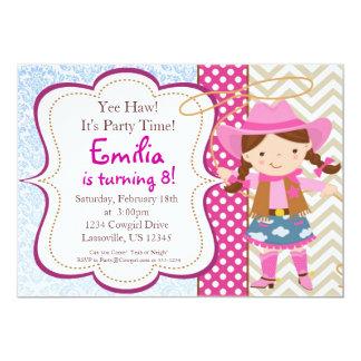 Blue Damask, Tan Chevron Cowgirl Birthday Party 5x7 Paper Invitation Card
