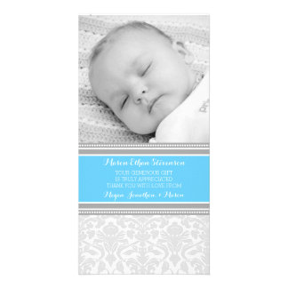 Blue Damask Thank You Baby Shower Photo Cards Photo Card