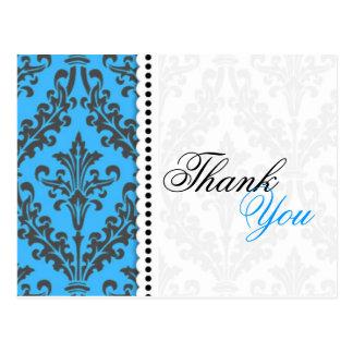 Blue Damask Thank You Postcards