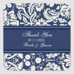 Blue Damask Thank You Wedding Favor Tags Square Sticker