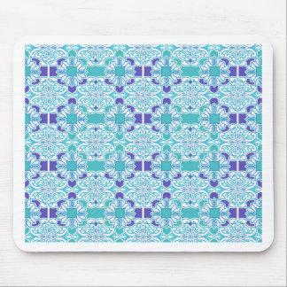 Blue Damask Tile Mouse Pad