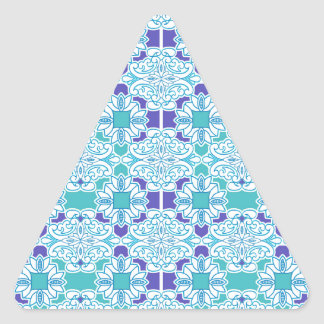 Blue Damask Tile Triangle Sticker
