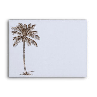 Blue Damask Tropical Palm Wedding Envelope