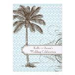 Blue Damask Tropical Palm Wedding Invitation