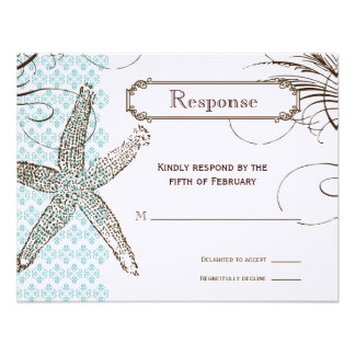 Blue Damask Tropical Wedding Response Card Personalized Invites