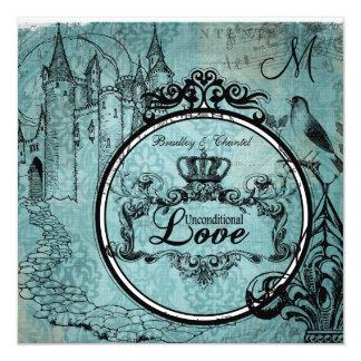 Blue Damask Unconditional Love Wedding Invite