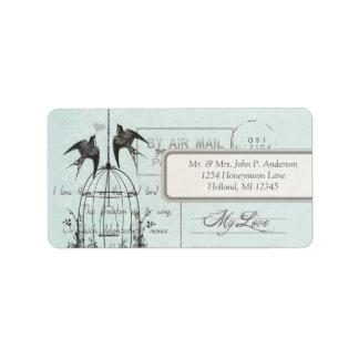 Blue Damask Vintage Bird Cage Air Mail Love Poem Address Label