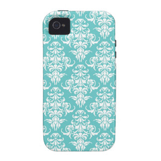 Blue damask vintage wallpaper pattern 4S case Case-Mate iPhone 4 Covers