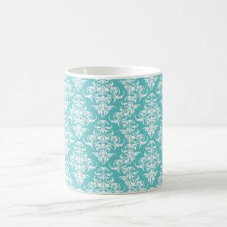 Blue damask vintage wallpaper pattern coffee mug