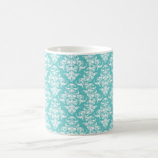 Blue damask vintage wallpaper pattern classic white coffee mug