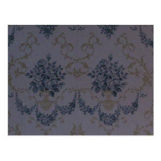 Blue Damask Vintage Wallpaper Postcard