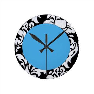 Blue Damask Wall Clock