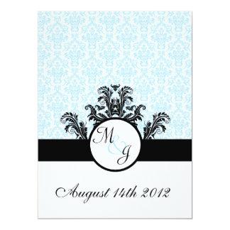 Blue Damask Wedding Card