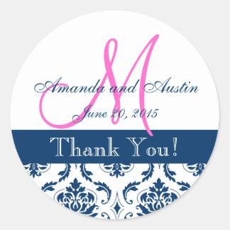 Blue Damask Wedding Favor Sticker