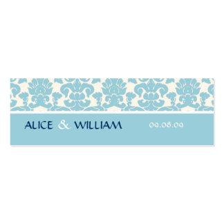 BLUE DAMASK WEDDING FAVOR TAG BUSINESS CARD TEMPLATES