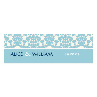 BLUE DAMASK WEDDING FAVOR TAG MINI BUSINESS CARD