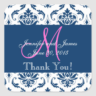 Blue Damask Wedding Favor Thank You Square Sticker