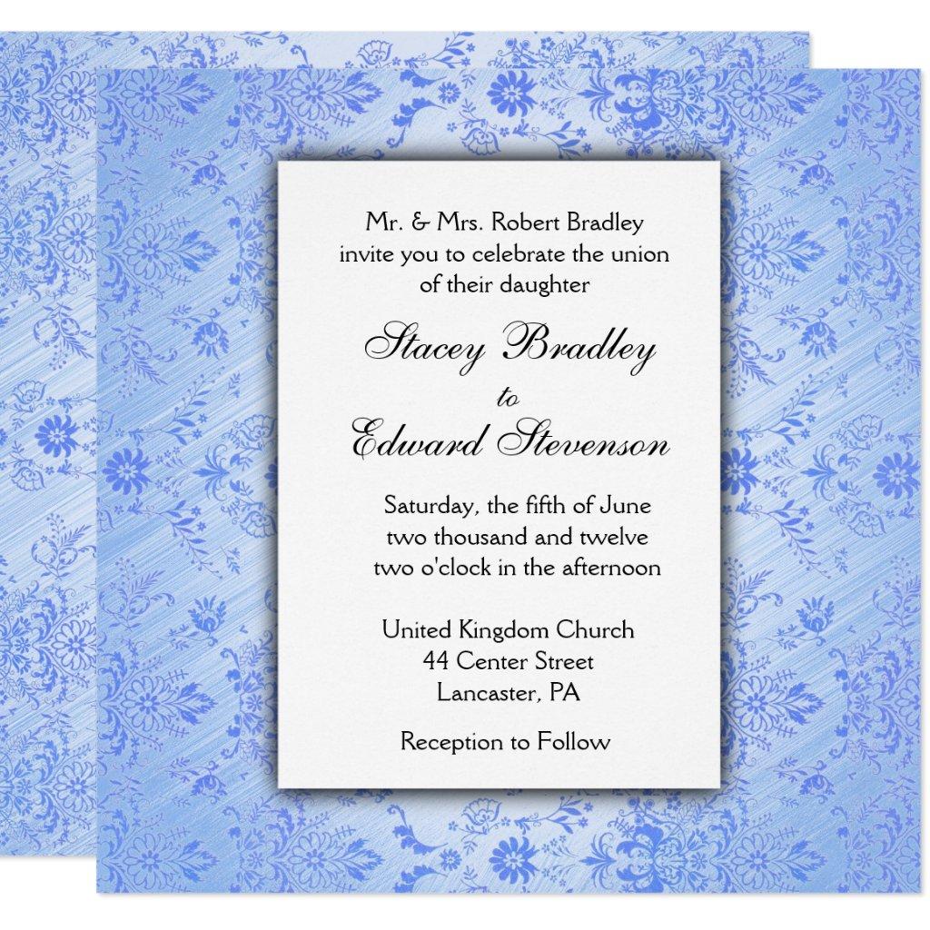 Blue Damask Wedding Invitation