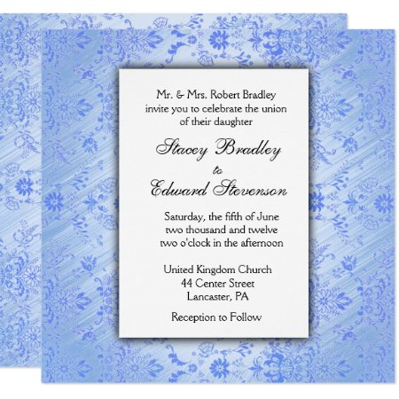 Blue Damask Wedding Invitation