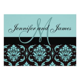 Blue Damask Wedding Invitation Monogram Names