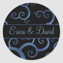 blue damask Wedding Monogram stickers