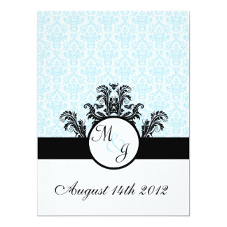 Blue Damask Wedding Personalized Announcement