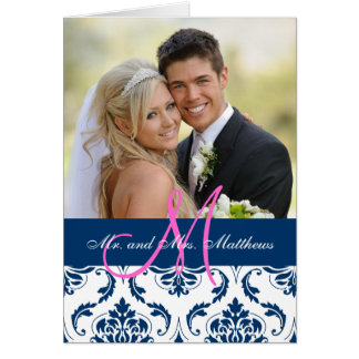 Blue Damask Wedding Photo Thank You Card