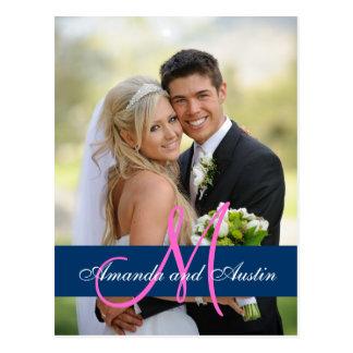 Blue Damask Wedding Photo Thank You Postcard