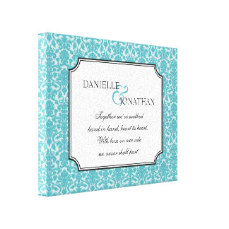 Blue damask wedding quote personalized canvas art