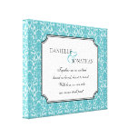 Blue damask wedding quote personalized canvas art canvas print